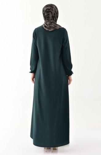Kleid mit Gummi 4141-01 Smaragdgrün 4141-01