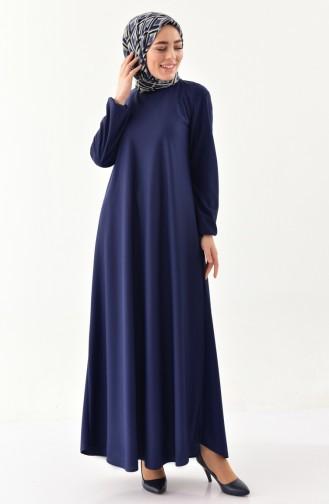 إي أف إي فستان بتصميم أكمام مزمومة 4141-03 لون كحلي 4141-03
