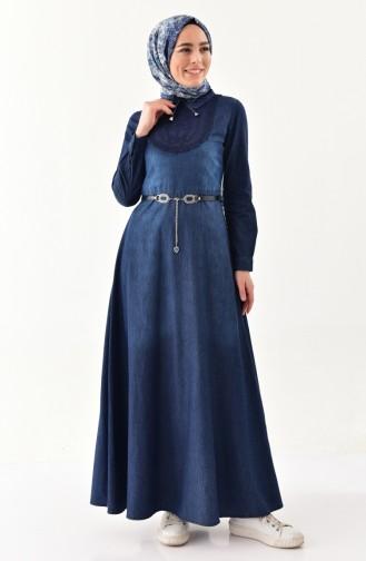 Kemerli Kot Elbise 8244-01 Lacivert
