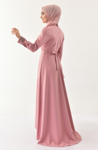 İncili Kuşaklı Elbise 8902-05 Gül Kurusu