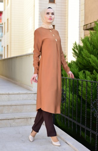 EFE Button Detailed Long Tunic 2222-04 Maroon 2222-04