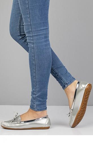 حذاء مُسطح باليرينا 3100 لون فضي لامع 3100