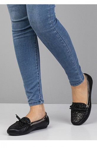 حذاء مسطح 3100 لون أسود وفضي 3100