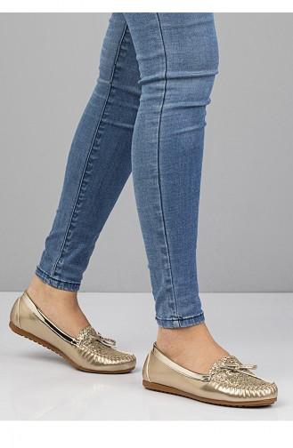حذاء مُسطح نسائي (باليرينا ) 3100 لون ذهبي لامع 3100