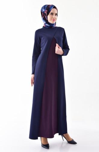 Takım Görünümlü Elbise 2895-22 Lacivert Mor 2895-22