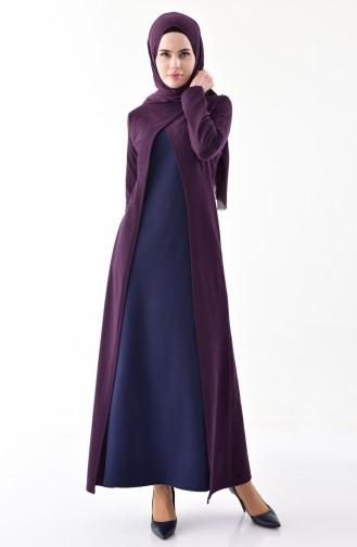 Takım Görünümlü Elbise 2895-23 Mor Lacivert 2895-23