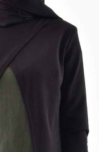 Takım Görünümlü Elbise 2895-14 Siyah Haki Yeşil 2895-14