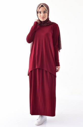iLMEK Tunic Skirt Double Suit 5237-06 Claret Red 5237-06