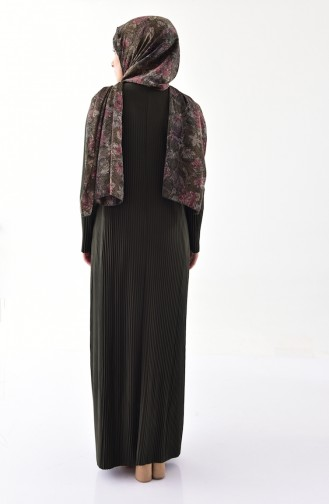 Piliseli Elbise 5217-06 Koyu Haki