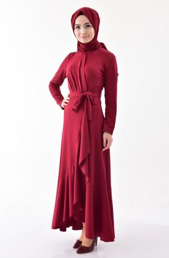 Claret red İslamitische Jurk 4064-02