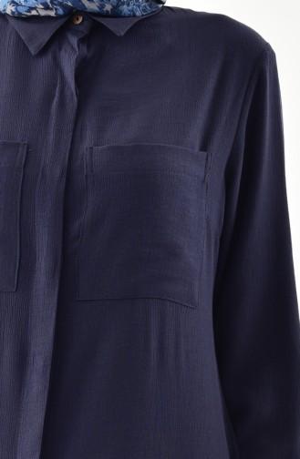 ايلميك تونيك غير متماثل الطول بتفاصيل جيوب 5235-03 لون كحلي 5235-03