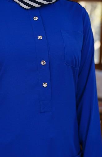 ميناهيل تونيك غير متماثل الطول بتفاصيل جيوب 10105-02 لون أزرق 10105-02