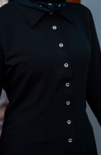 Minahill Buttoned Viscose Tunic 10108-01 Black 10108-01