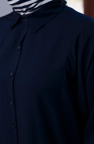أويا تونيك بتصميم اكمام موصولة 8122-02 لون كحلي 8122-02