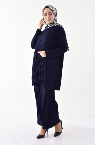 iLMEK Pleated Tunic Pants Double Suit 5219-02 Navy Blue 5219-02