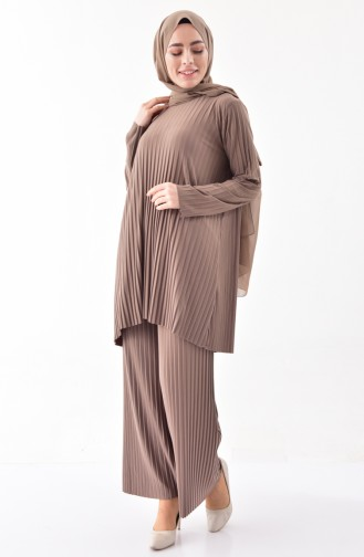iLMEK Pleated Tunic Pants Double Suit 5219-05 Mink 5219-05