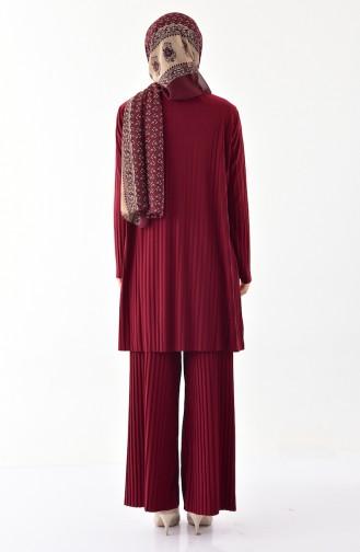 iLMEK Pleated Tunic Pants Double Suit 5219-06 Claret Red 5219-06