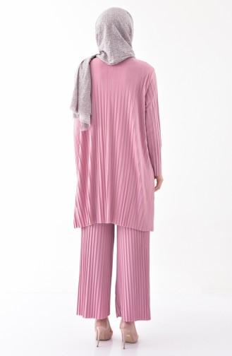 Piliseli Tunik Pantolon İkili Takım 5219-07 Pudra