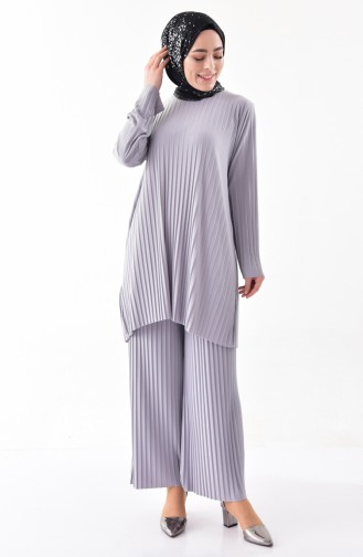 iLMEK Pleated Tunic Pants Double Suit 5219-08 Gray 5219-08