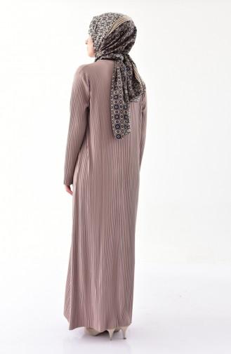 ايلميك فستان بتصميم طيات 5217-04 لون بني مائل للرمادي 5217-04