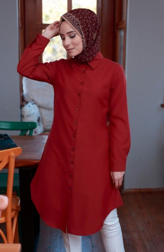 Düğmeli Tunik 8203-12 Bordo