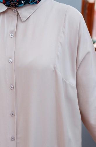 أويا تونيك بتصميم اكمام موصولة 8122-06 لون بيج 8122-06