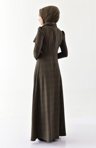 أويا فستان بتصميم كروهات 9000-03 لون اخضر كاكي 9000-03