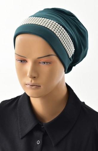 Evening Dress Pearl Turban Bone 1028-13 Emerald Green 1028-13