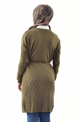 Knitwear Belted Cardigan 9003-02 Khaki 9003-02
