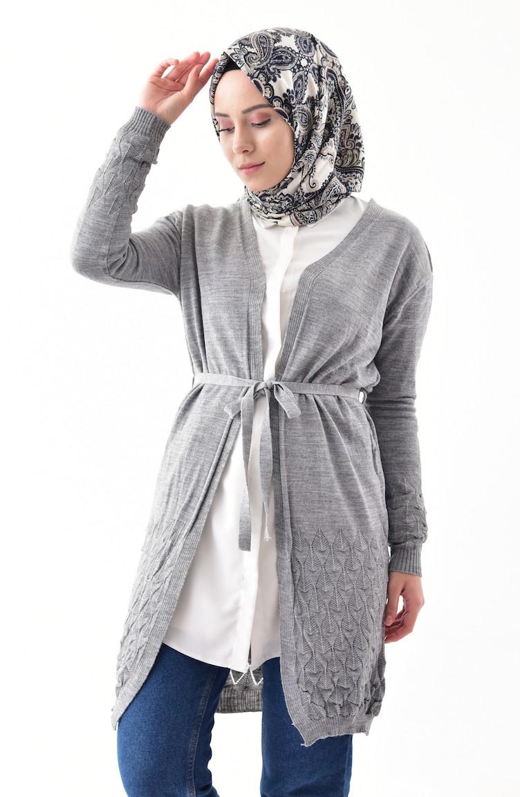 247382869d Knitwear belted cardigan gray jpg 752x1152 Belted cardigan