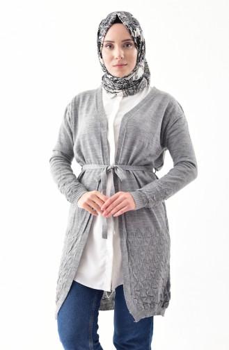 Knitwear Belted Cardigan 9003-03 Gray 9003-03