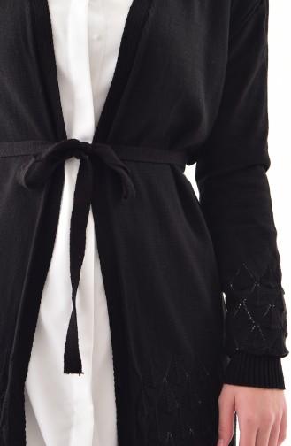 Knitwear Belted Cardigan 9003-05 Black 9003-05