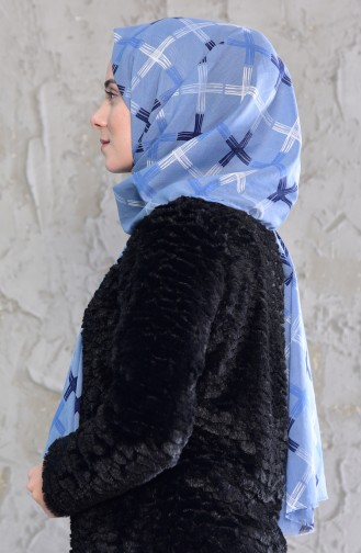 Patterned Cotton Shawl 901440-06 Baby Blue 901440-06