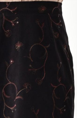 Patterned Velvet Skirt 5009B-01 Black 5009B-01