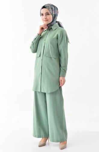 Cepli Tunik Pantolon İkili Takım 9099-01 Çağla Yeşili