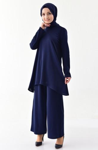 Simli Tunik Pantolon İkili Takım 1269-03 Lacivert 1269-03