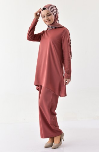 Silvery Tunic Pants Binary Suit 1269-05 Dried Rose 1269-05