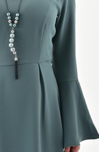 Kolyeli Elbise 2050-03 Küf Yeşili