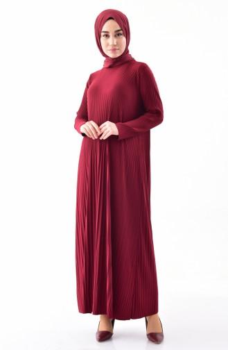 Robe Plissée 5242-02 Bordeaux 5242-02