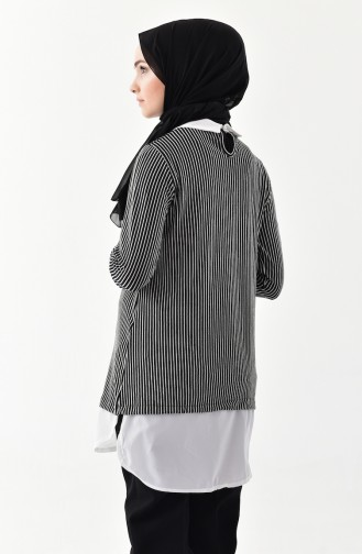 Striped Tunic 1003-01 Black 1003-01