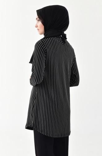 Çizgili Garnili Tunik 1004-01 Siyah Ekru