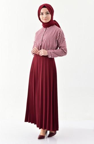 iLMEK Pleated Skirt 5224-02 Claret Red 5224-02