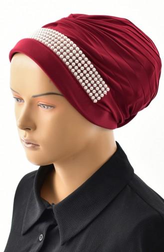 Evening Dress Pearl Turban Bone 1028-03 Claret Red 1028-03