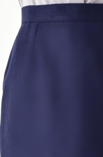 Suede Skirt 5009A-01 Navy Blue 5009A-01