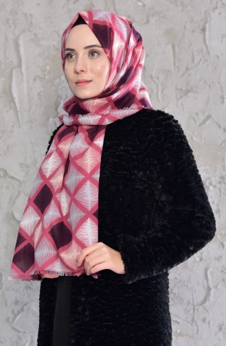 Striped Patterned Cotton Shawl 901439-04 dry Rose 901439-04