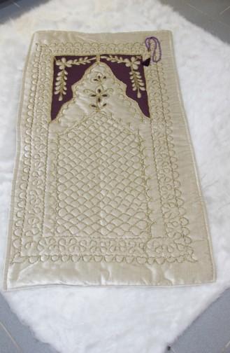 Embroidered Velvet Prayer Rug Scn01001-01 Light Beige 01001-01