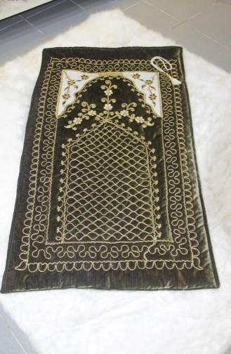 Embroidered Velvet Prayer Rug Scn01001-02 Green 01001-02