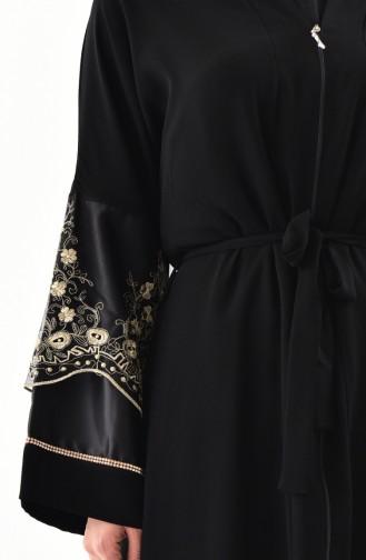 Abaya a Dentelle 7755-01 Noir Or 7755-01