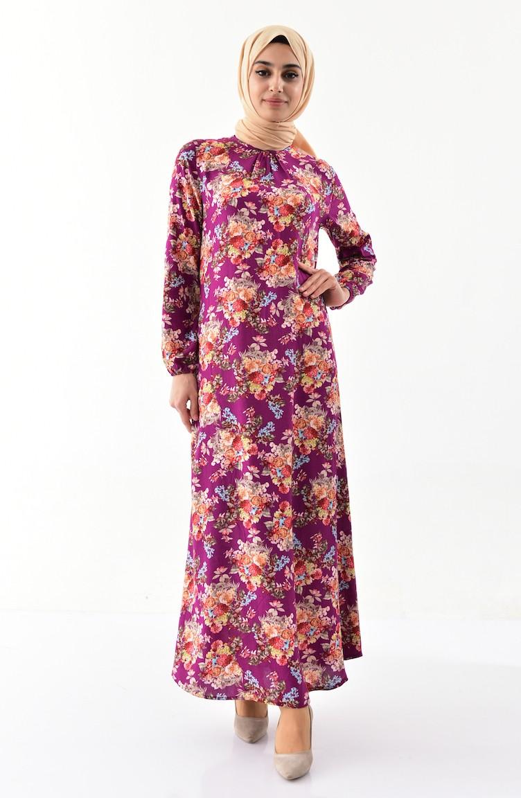 e5b24bd34b08 EFE Flower Patterned Summer Dress 0391-01 Plum 0391-01