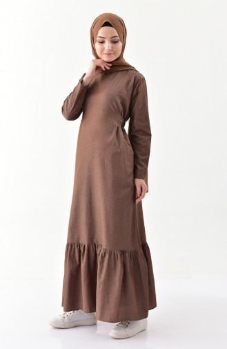 ايلميك فستان بتصميم حزام للخصر 5222 A-02 لون بني 5222A-02